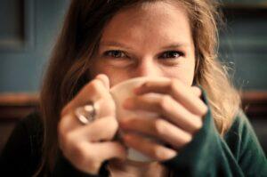 Happy coffee lady